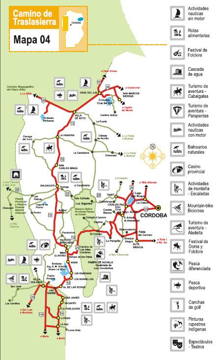 Mapa De Traslasierra Y Sus Principales Puntos De Interes Turistico