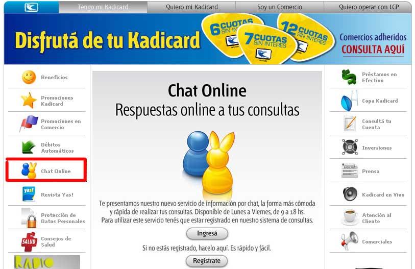 chat tarjeta kadicard
